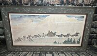 """RARE VINTAGE 1966 Norman Rockwell """"STAGECOACH"""" Framed Art Picture Print US Mail"""