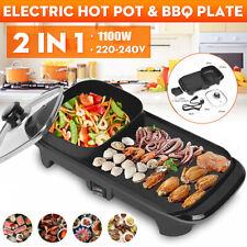 Electric BBQ HotPot Oven Smokeless Barbecue Pan Grill Teppanyaki Hot Pot 2 in 1