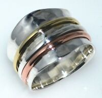 Sterling Silver Spinner Ring, Wide Tricolour 925 Band All Sizes L, 5½ to Z+3, 14