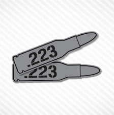 .223 Bullet Ammo Box Sticker Vinyl Decal Label Ammunition- 2 PACK Gun Metal Grey