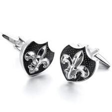 Black Fleur-De-Lis Saints Silver Cufflinks Symbol Crest Cuff Link Mens Accessory
