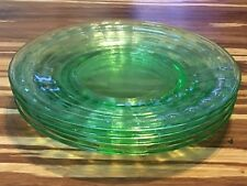 4 GREEN DEPRESSION GLASS PLATES - 2nd PLATE LOT