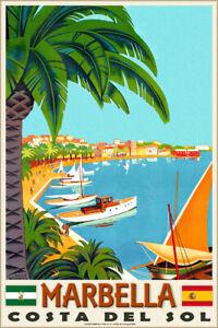 Marbella Spain Costa Del Sol Andalusia Mediterranean Travel Poster Art Print 313