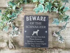 Divertente attenzione al cane Schnauzer ARDESIA porta, cancello, placca, segno
