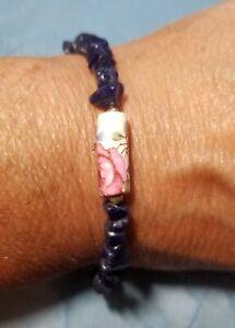 Lapis Lazuli Nugget Bracelet with Ceramic Floral Bead