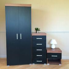 *Black & Walnut Bedroom Set* Wardrobe, 5 Drawer Tall Boy Chest & Bedside Table