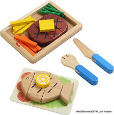 *NEW wooden toy MAIN DISH steak fish fries pretend play food cubby house kitchen