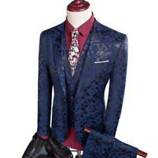 Mens 3Pcs Jacket+Vest+Pants Business Printing Floral Handsome Slim Fit Wedding