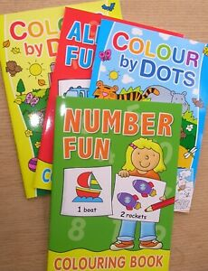 Children kids  Educational Numbers Activity Alphabet & Colouring By Dots Books