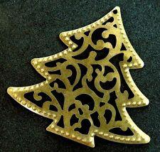 Christmas Tree Brass Stocking Stuffer Present Pendant or Xmas Ornament Gold Bead