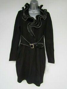 JOSEPH RIBKOFF BNWT RRP£289 Size 12 Black Belted Zip Trim Bodycon Party Dress