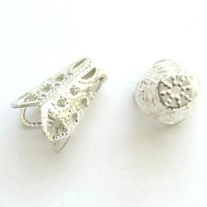 100 Silver plated Filigree Cone End Caps 16x11mm Findings