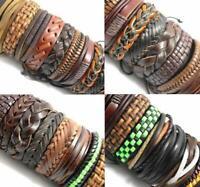 50pcs Handmade Genuine Leather Cuff Jewelry Bracelets Gifts for Men Women