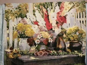 """Multi Color Gladiolas Floral Wall Tapestry 42"""" x 34"""" by Don Ricks"""