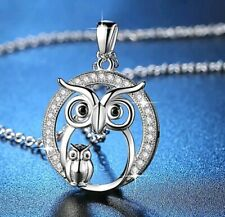 Silver Crystal Owl Necklace pendent Christmas Birthdays mothers day 793