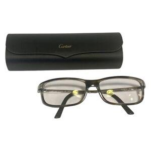 CARTIER Black Gray Metal Frames Glasses Eyeglasses 135 6457447 Case France