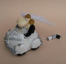 Spardose Brautpaar im Auto mit Dosenkette Just Married Schafe Cabrio weiß NEU