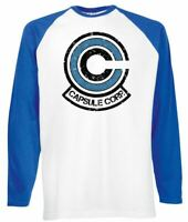 Mens Capsule Corp Baseball T-Shirt Long Sleeve Dragon Ball Z Super Goke Battle