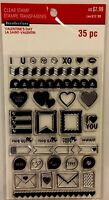 Recollections Clear Reusable rubber Stamp Set Love Themed 35 Pieces Heart Words