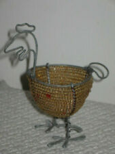 """Collectible Beaded Wire Folk Art Chicken Shaped Figurine Egg Cup 4.25"""" Tall"""