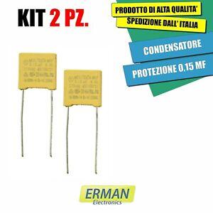 KIT 2PZ CONDENSATORE DI PROTEZIONE 0,15 MF - 150 NF X2 275 VAC PASSO 10