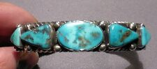 Harry H Begay Sterling Cuff Bracelet with Bisbee turquoise Hallmarked HHB