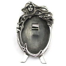 MINIATURE ART NOUVEAU STYLE LADY OVAL PHOTO FRAME STERLING SILVER 925 HALLMARKED