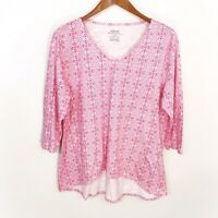Chico's Pink Printed Ultimate Tee V-Neck 3/4 Sleeve Shirt Women's Size Large L 2