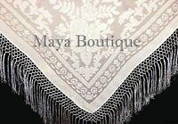 Ivory Piano Shawl Wrap Fringe Square Scarf Silk Burnout Velvet Maya Matazaro