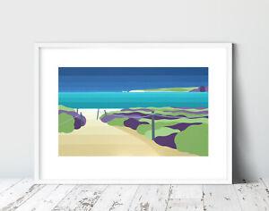 STUDLAND BAY, DORSET 50x40cm Limited Edition STRIPY ART Print. Suzanne Whitmarsh
