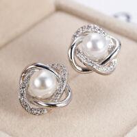 Elegant Stud Earrings Women 925 Silver Jewelry White Sapphire & Pearl A Pair/set