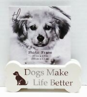 DOG BONE Wood Photo Picture Block Animal Home Decor - Dogs Make Life Better