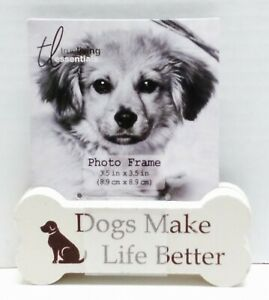 DOG BONE Wood Photo Picture Block Animal Home Decor - Dogs Make Life Better