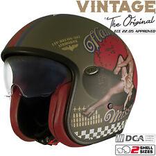 PREMIER Helm VINTAGE PIN UP MILITARY olive Jethelm Visier Classic Retro L 59/60