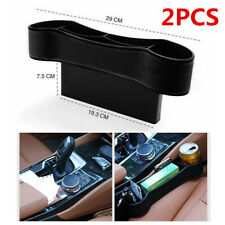 2Pcs Car Seat Crevice Gaps Storage Box Drink Bottle Holder ABS/PU Leather Black