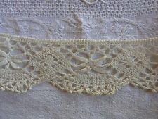 DRG21 Ancien galon dentelle fuseaux ivoire 6cmx135 + 80cm  Old bobbin lace braid