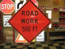 """Road Work 500 ft Fluorescent Vinyl With Ribs Road Sign 48"""" X 48"""""""