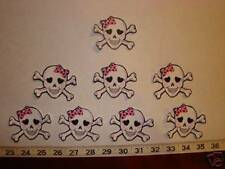 8 Girl Skull Crossbones Fabric Applique Iron On Ons