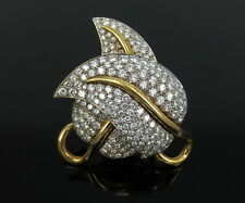 Yellow Gold Vine Leaf Pendant Brooch Vintage 12.0ct Diamond 18K White &