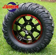 """GOLF CART 12"""" RED-BLACK NIGHT STALKER WHEELS and 22""""x11""""-12"""" AT/MT TIRES (4)"""