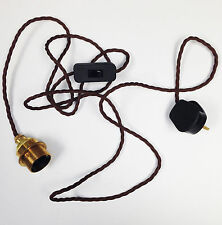 Brown Twist Vintage Look fabric cable Brass E27 Retro Light Lamp Cable Set
