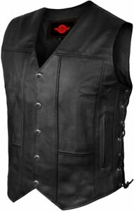 Mens Genuine Leather 6 Pockets Motorcycle Biker Vest Laces Black Brown Riding CC