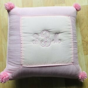 """Pottery Barn PB Teen Crinkle Puff Pink Pillow Cover Monogrammed """"BBM"""" w/Insert"""