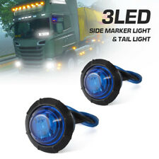 "2Pcs 3/4"" inch Round LED Turn Signal Kit Side Marker Clearance Light Blue Lens"