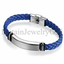 Bracelet for Men Fashion Jewelry Stainless Steel Leather Wire Braided Wrist Cuff