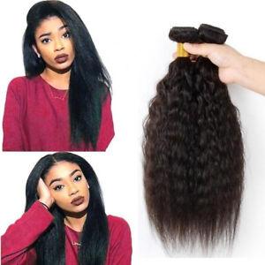 100g/2bundles Kinky Straight  Human Hair Extensions Brazilian Hair Weave Weft