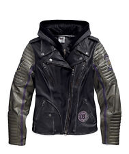 Harley Davidson Womens Speedy 3in1 Distressed Black Leather Jacket 97048-15VW XL