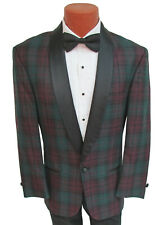 Men's Lord West Black Watch Plaid Tuxedo Jacket Green & Red Satin Lapels 38S