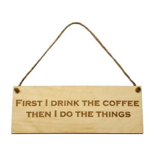 Gift Coffee Hanging Door Sign Wall Plaque Wooden Engraved Novelty Decor Friend