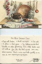 VINTAGE BAKED BEANS BROWN BREAD HOT MILK SPONGE CAKE RECIPE CHRISTMAS SNOW CARD